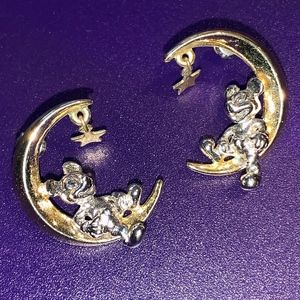 Mickey Mouse sitting on the moon & star earrings